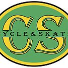 Cycle and Skate Oval CS Design Green and Gold by strayfoto
