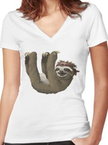 Happy Hanging Sloth Pirate Women's Fitted V-Neck T-Shirt