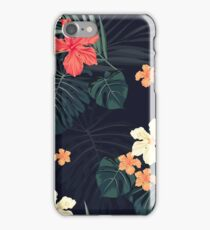 Dark tropical flowers iPhone Case/Skin