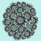 Blue Sunflower Bouquet  by Lukasz  Czyzewski