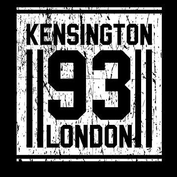 Souvenir Kensington 93 to Putnam and Wimbledon London Rustic Vintage Bus Stop Sign For Visitors by manbird