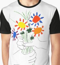 Camiseta gráfica Pablo Picasso Bouquet Of Peace 1958 (Bouquet de flores con manos), camiseta, ilustraciones