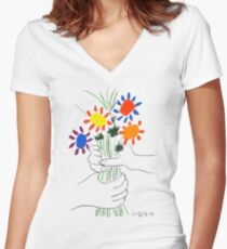 Pablo Picasso Bouquet Of Peace 1958 (Flowers Bouquet With Hands), T Shirt, Artwork Women's Fitted V-Neck T-Shirt
