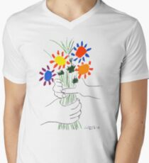 Pablo Picasso Bouquet Of Peace 1958 (Flowers Bouquet With Hands), T Shirt, Artwork Men's V-Neck T-Shirt