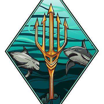 King of the Sea - Shark Dolphins trident by Nocturnalcultur