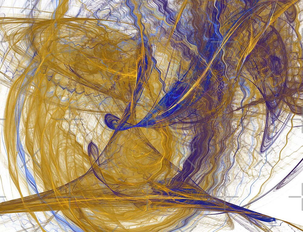 Gold and Blue Ripples and Waves by Kelly Gammon