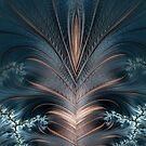 «lindo -cool-azul-gris-pluma-cuero-beige» de designersara