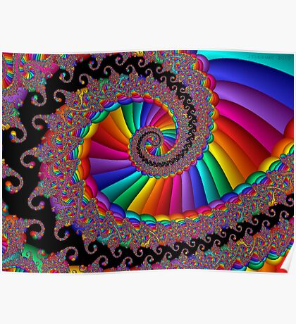 Fancy Fractal Rainbow Spiral Poster