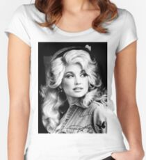 BLACK & WHITE BEAUTIFUL LEGEND MUSIC COUNTRY CLASSIC DOLLY PARTON #03 SIGNATURE Women's Fitted Scoop T-Shirt