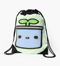 Cute sprout in pot Drawstring Bag