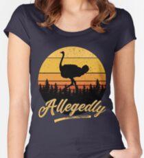 Letterkenny Allegedly Ostrich Flightless Bird Vintage Retro Sunset Distressed Fitted Scoop T-Shirt