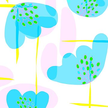 Organic Minimal Botanical Blue Shapes by oursunnycdays