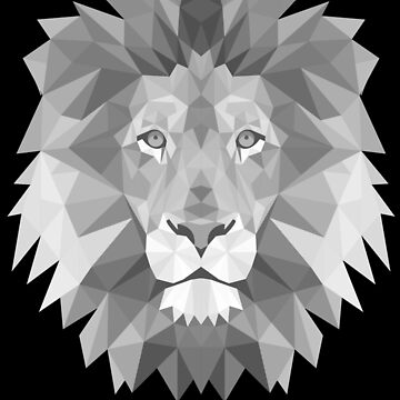 Polygonal Lion Head Geometrical Drawing Artsy King Jungle Wild Animal Design by BullQuacky