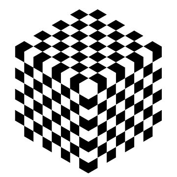 Black and White Cube Chessboard by TOMSREDBUBBLE