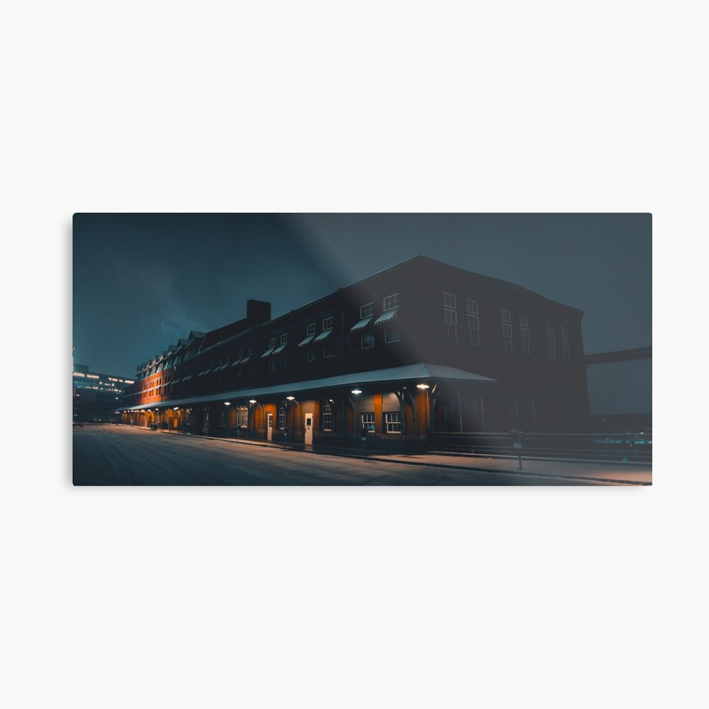 Snowy Morning at the Station Metal Print