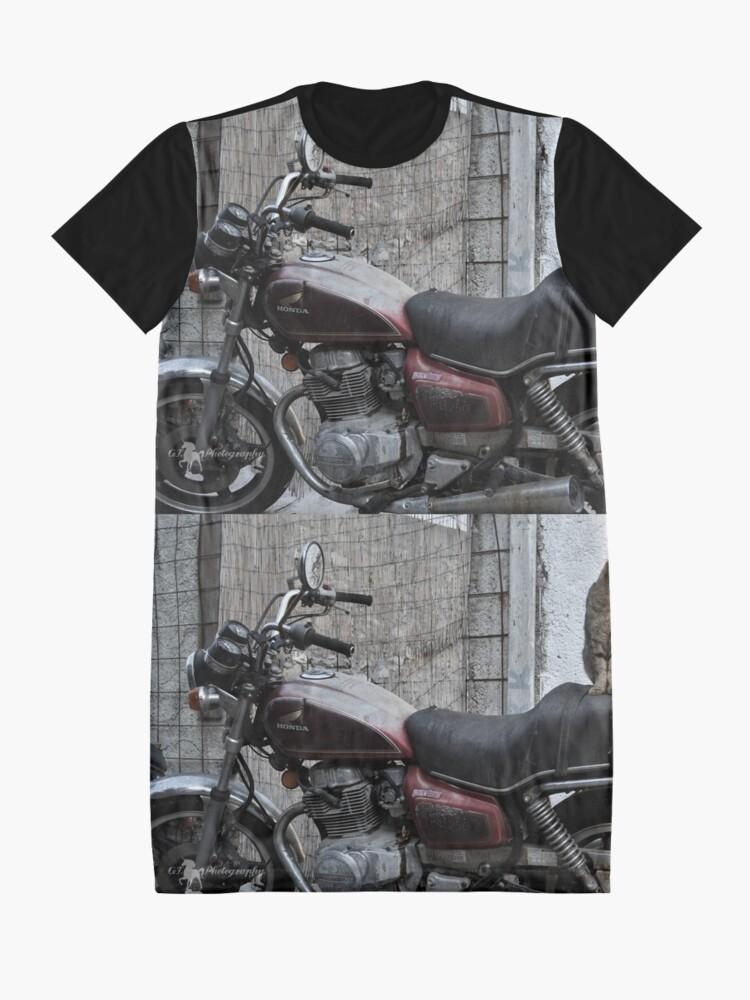 Alternative Ansicht von Cat on motorcycle T-Shirt Kleid