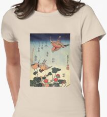 'Wild Strawberries and Birds' by Katsushika Hokusai (Reproduction)  Womens Fitted T-Shirt