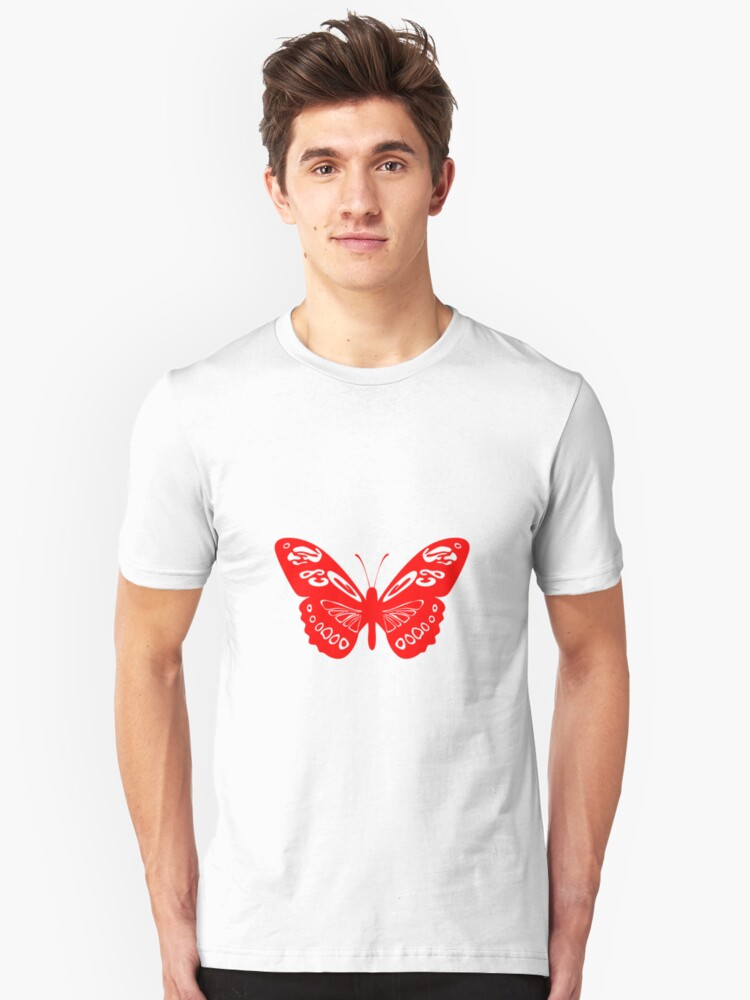 Red Butterfly - Vector Art Unisex T-Shirt Front