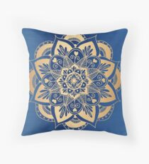 Blue and Gold Flower Mandala Throw Pillow