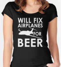Will Fix Airplanes for Beer, White text Women's Fitted Scoop T-Shirt