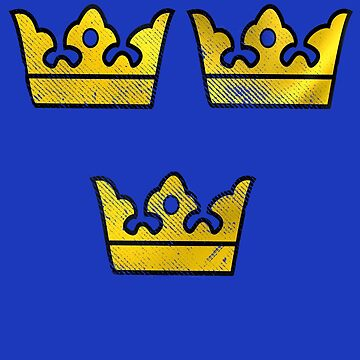 3 Three Crowns Tre Kronor of Sweden Swedish Coat of Arms Distressed by funnytshirtemp