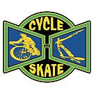 Cycle and Skate Blue and Green and Gold Bowtie Design by strayfoto