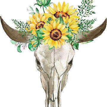 Ramo de girasol, calavera de toro, calavera de girasol, girasoles, acuarela, girasoles pintados de SouthPrints