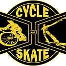 Cycle and Skate Bowtie Design - Gold Color Only (For Dark Shirts) by strayfoto