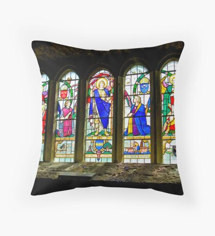Hubberholme Church Window #3 Throw Pillow
