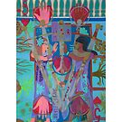 Five of Ringing Hearts Giclee Print with Borders by Denise Weaver Ross