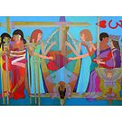 Three of Hearts Divided giclee with border by Denise Weaver Ross