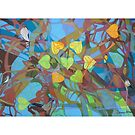 Seven Cottonwoods of the Bosque giclee with borders by Denise Weaver Ross