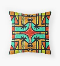 Colorful Tribal Geometric Pattern Throw Pillow