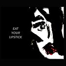 Black and Red Abstract Pop Art Portrait 'Eat Your Lipstick' by Angie Stimson