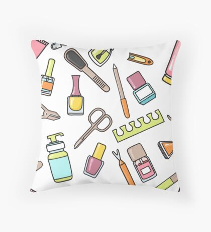 Pattern of manicure and pedicure doodle equipment. Nail art Throw Pillow