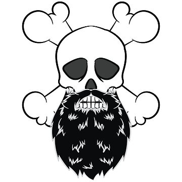 Bearded Pirate Skull without eye Patch Crossbones Skeleton by Customdesign200
