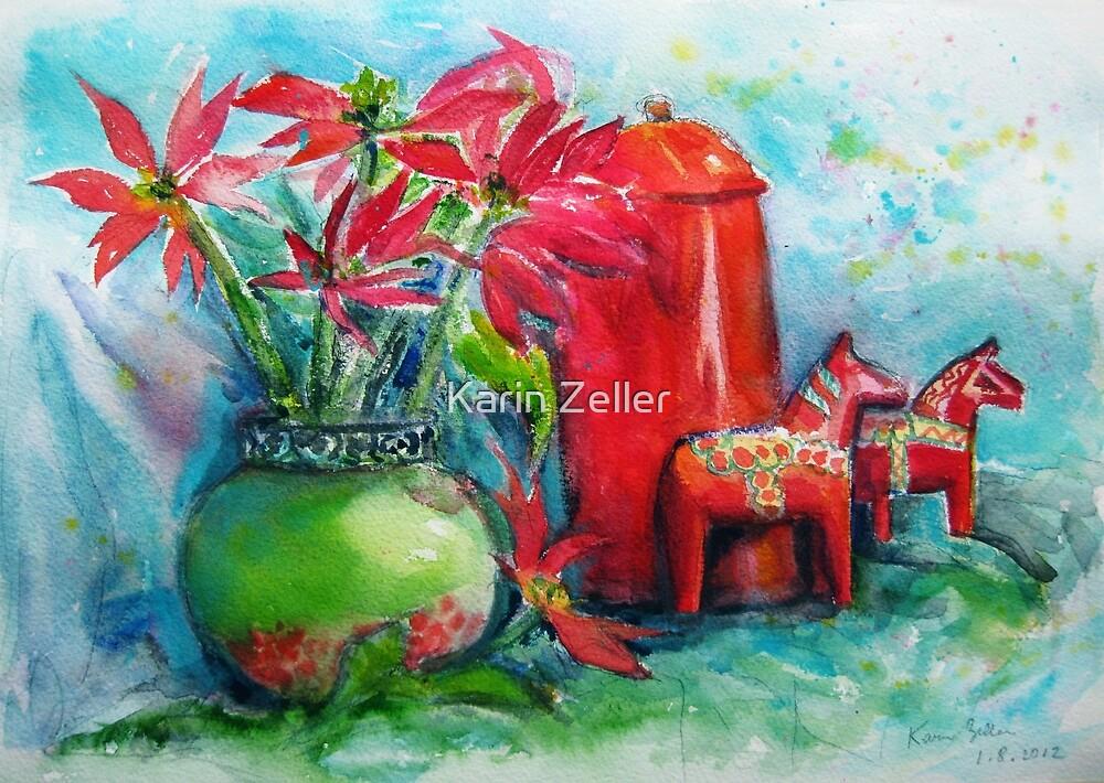 Still life with Poinsettias by Karin Zeller