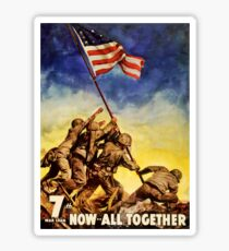 Now all together Vintage War Poster Restored Sticker