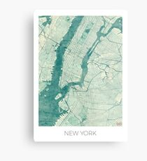 New York Karte Blau Vintage Metallbild