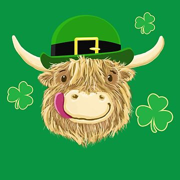 Scottish Highland Cow St Patrick's Day Hat by brodyquixote