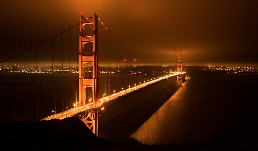 Night Fog Over The Golden Gate by Clay Townsend