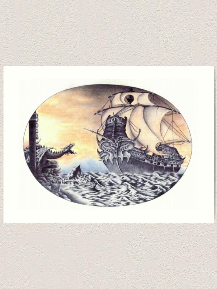 Alternate view of Dragon Ship Art Print