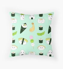 Kawaii Bento Box Print - Mint Throw Pillow