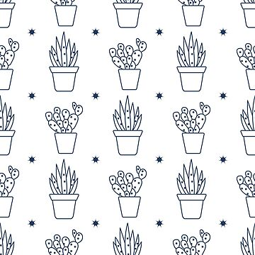 Vector seamless pattern with cactus and succulents by aquamarine-p