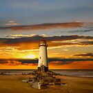 Point of Ayr Lighthouse Sunset by Adrian Evans