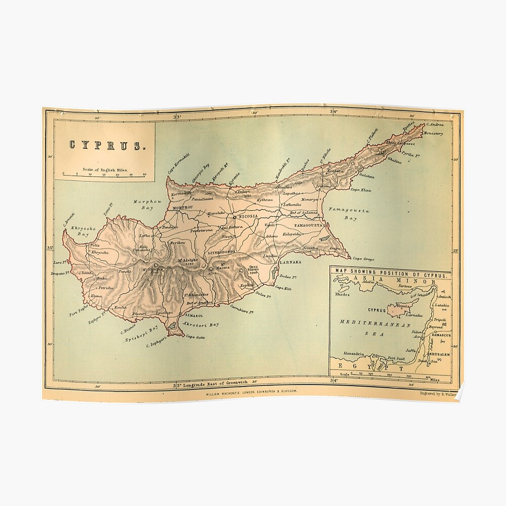 Vintage map - Cyprus ✔ HQ-quality Poster