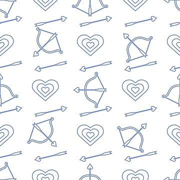 Seamless holiday pattern. Bow, arrows, hearts. by aquamarine-p