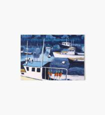 Lobster Boat in Blue Harbor Art Board