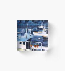 Lobster Boat in Blue Harbor Acrylic Block