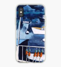 Lobster Boat in Blue Harbor iPhone Case